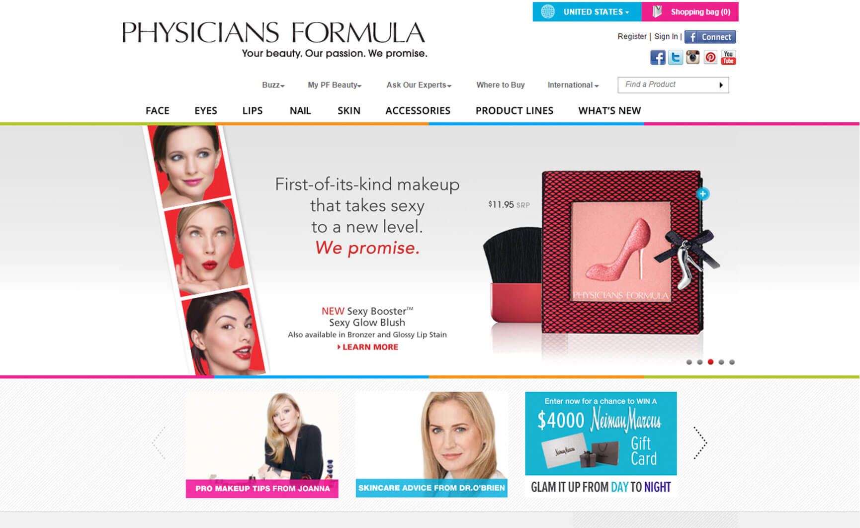 Physicians Formula Before Website Redesign Image